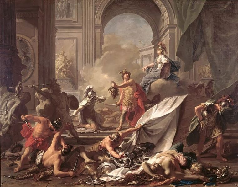 Persée, sous la protection d'Athéna, pétrifie Phineus grace à la tête de Méduse, Nattier, XVIII