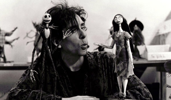 Tim Burton et ses personnages de Nightmare Before Christmas