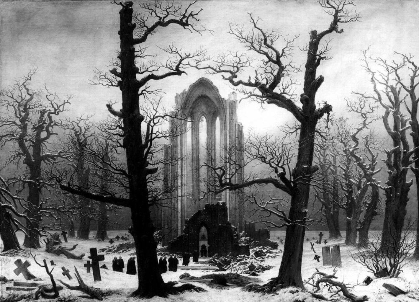 Cimetière de monastère sous la neige, Caspar Davie Friedrich, 1819