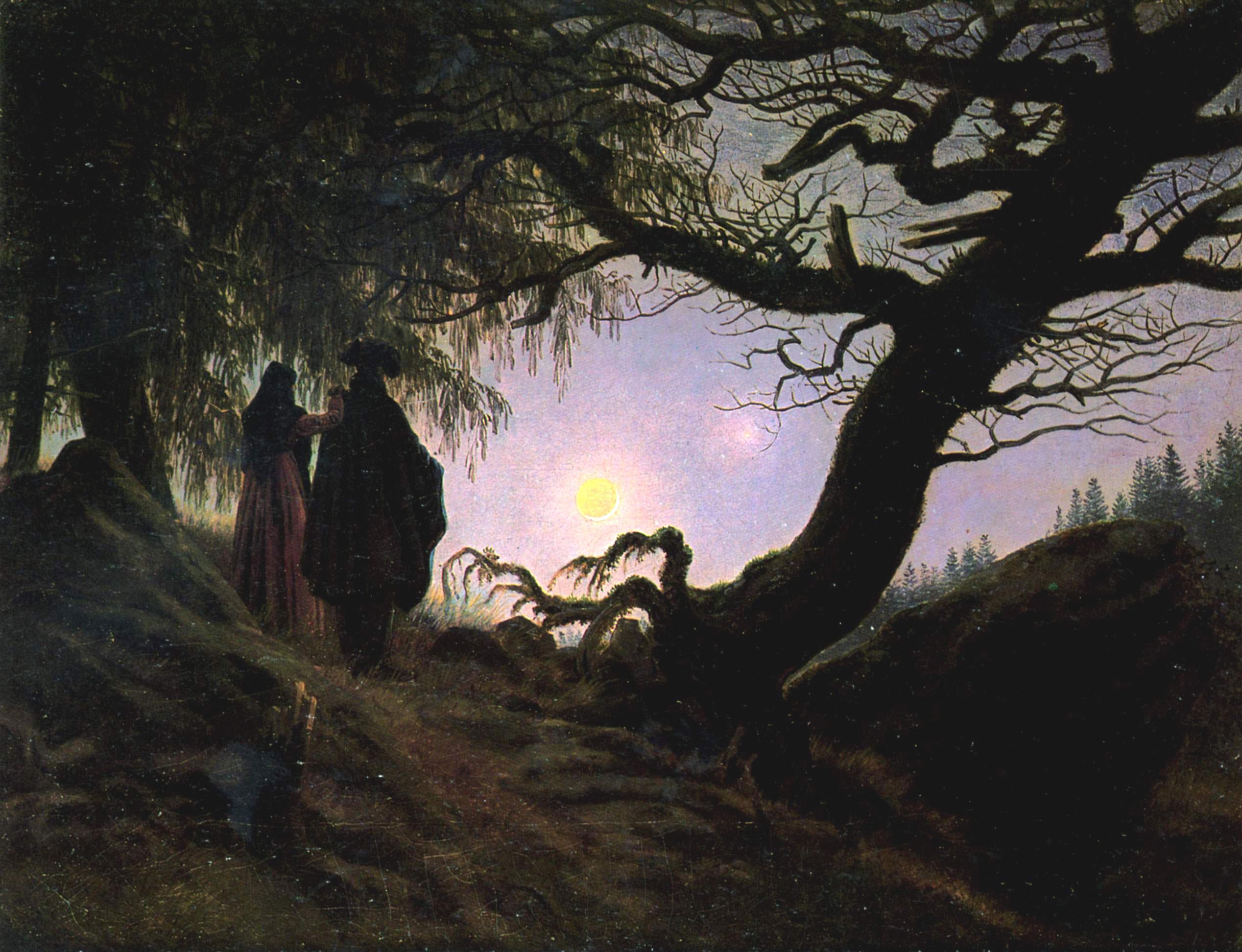 Homme et femme contemplant la lune, Caspar David Friedrich, 1824