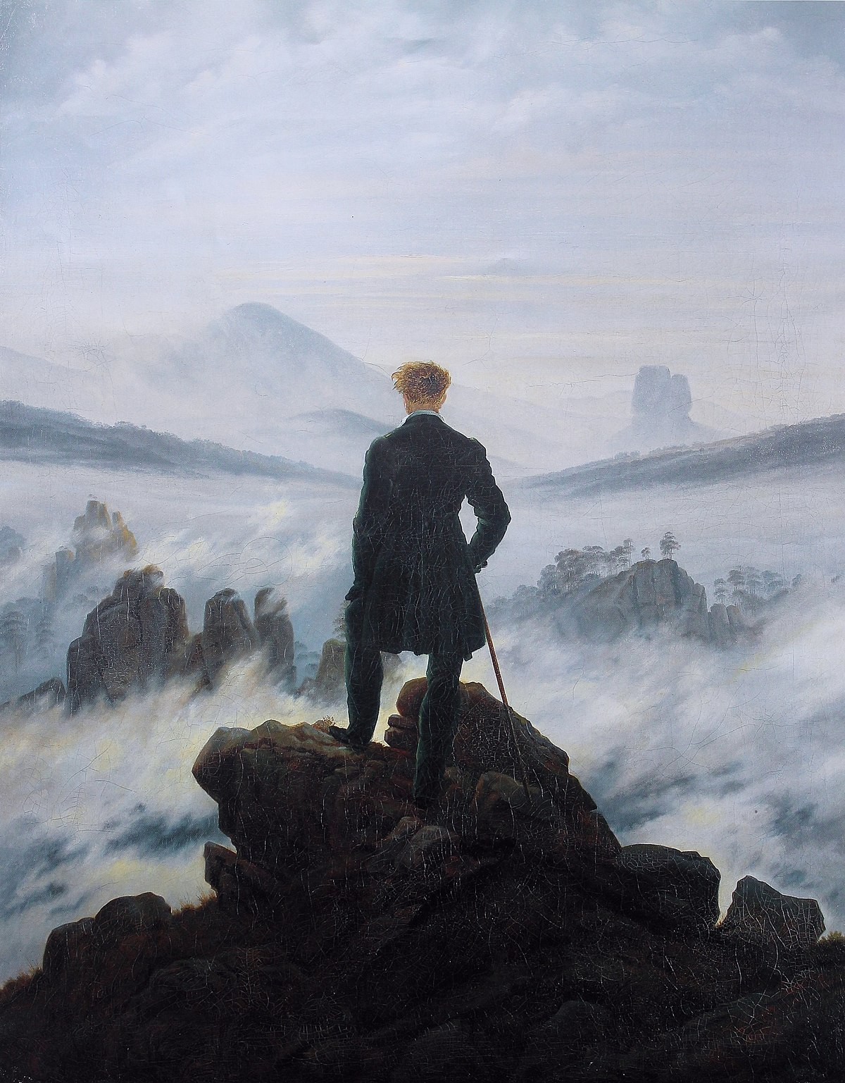 Le voyageur contemplant une mer de nuages, Caspar David Friedrich, 1818