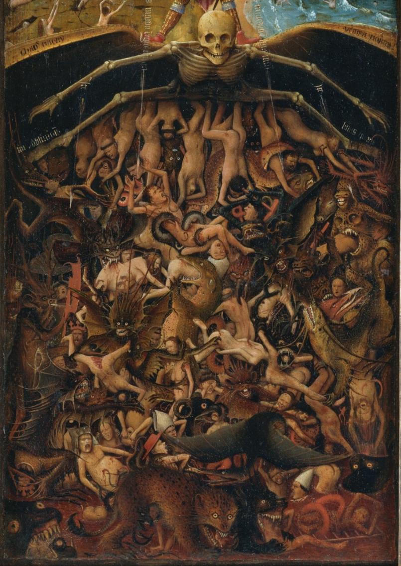 Détails de La Crucifixion, Le Dernier Jugement, Van Eyck, 1440-1441