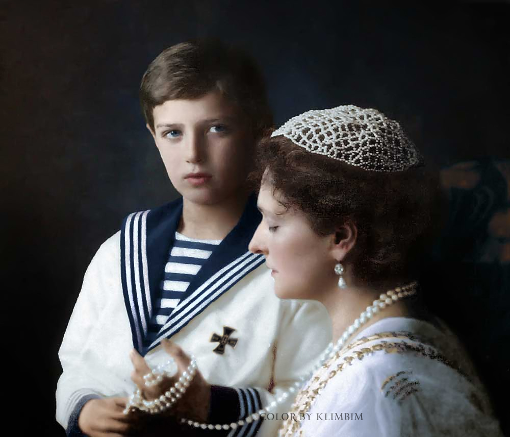 La Tsarine Alexandra Feodovna et le Tsarévitch Alexis Nicolaïevitch