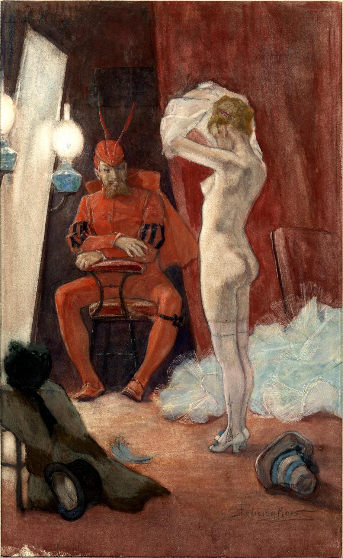Dans les coulisses, Félicien Rops, 1878