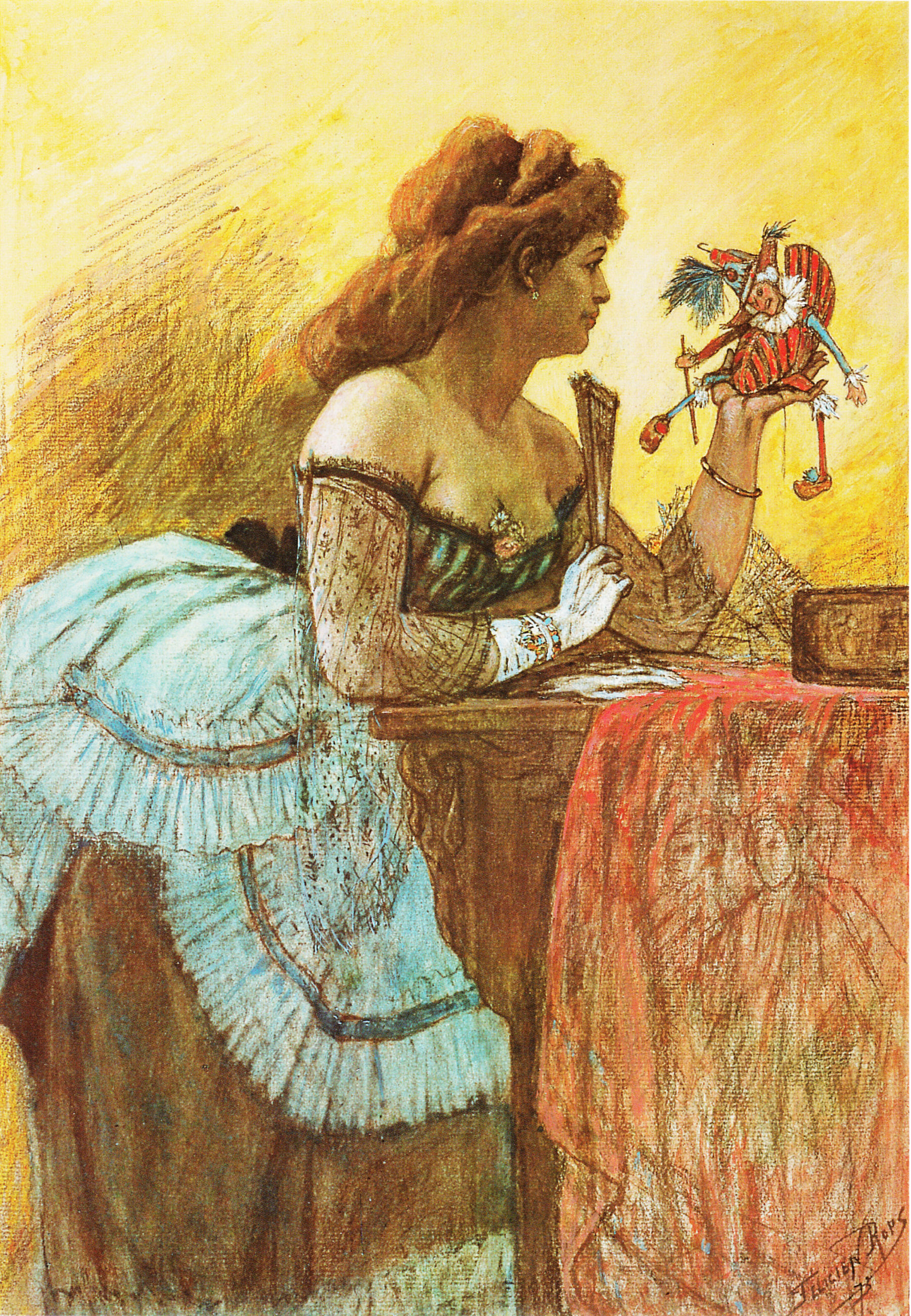 La Dame au Pantin et à l'éventail, Félicien Rops, 1873