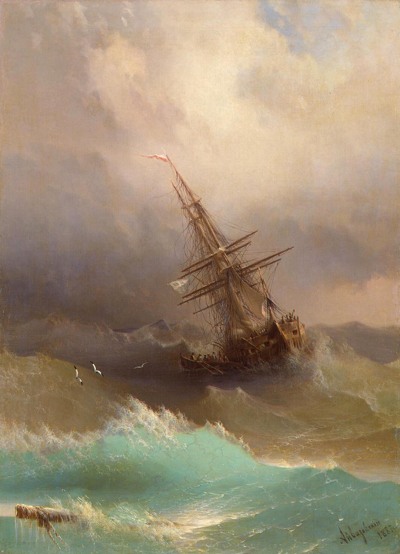 Bateau dans la tempête de mer, 1887