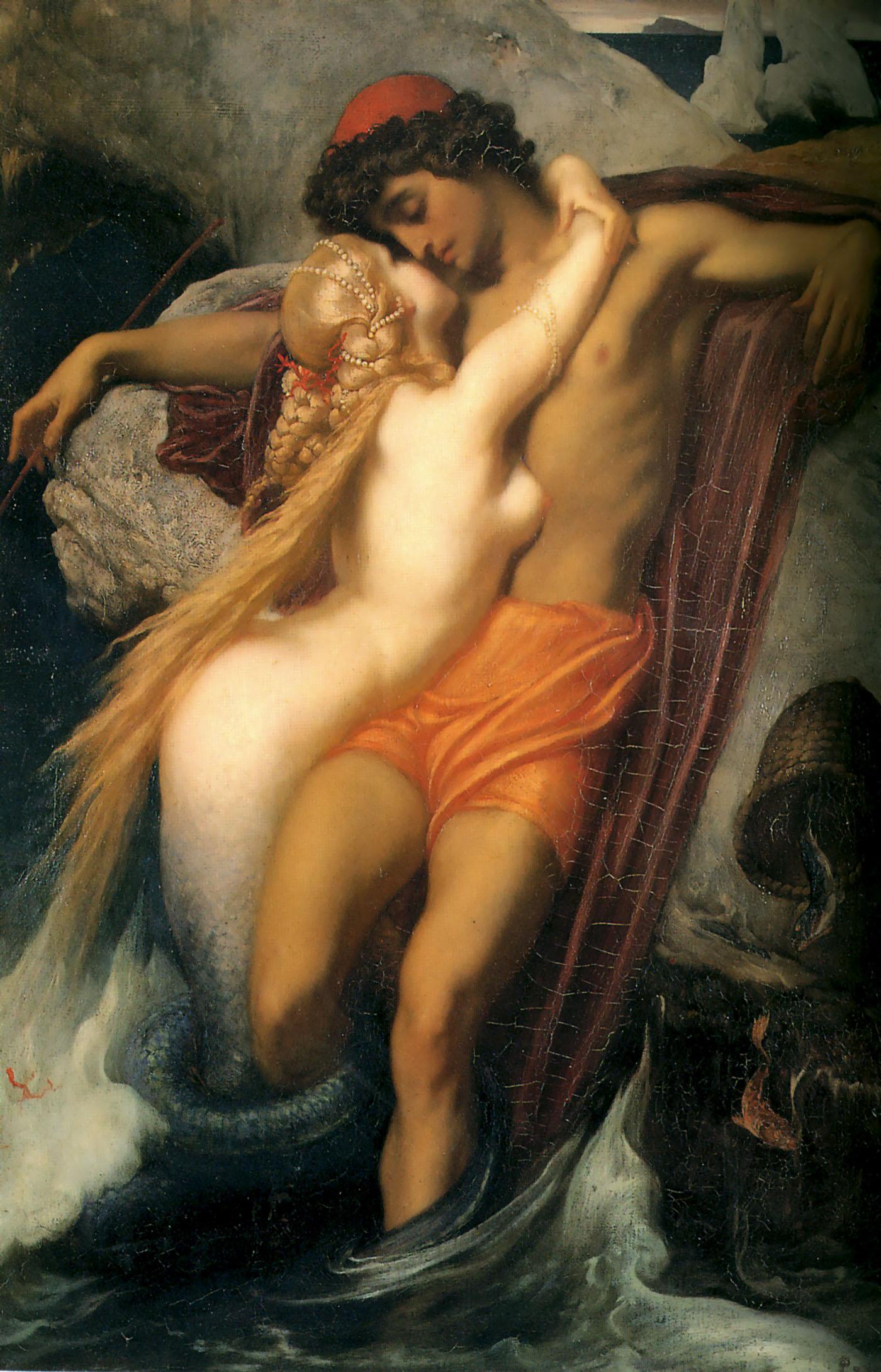 La sirène et le pêcheur, Leighton, 1856-1858